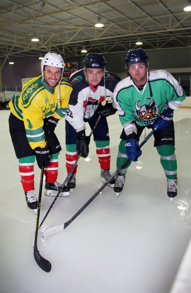 Ice hockey players John Caputo, Greg Hyde and Sam Wilson.  Picture: Robin Kornet        www.communitypix.com.au   d444230