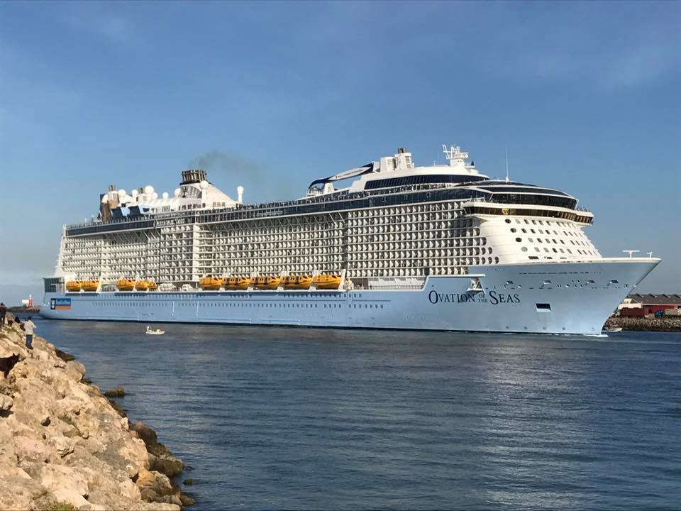 The Ovation of the Seas arriving in Fremantle this morning.