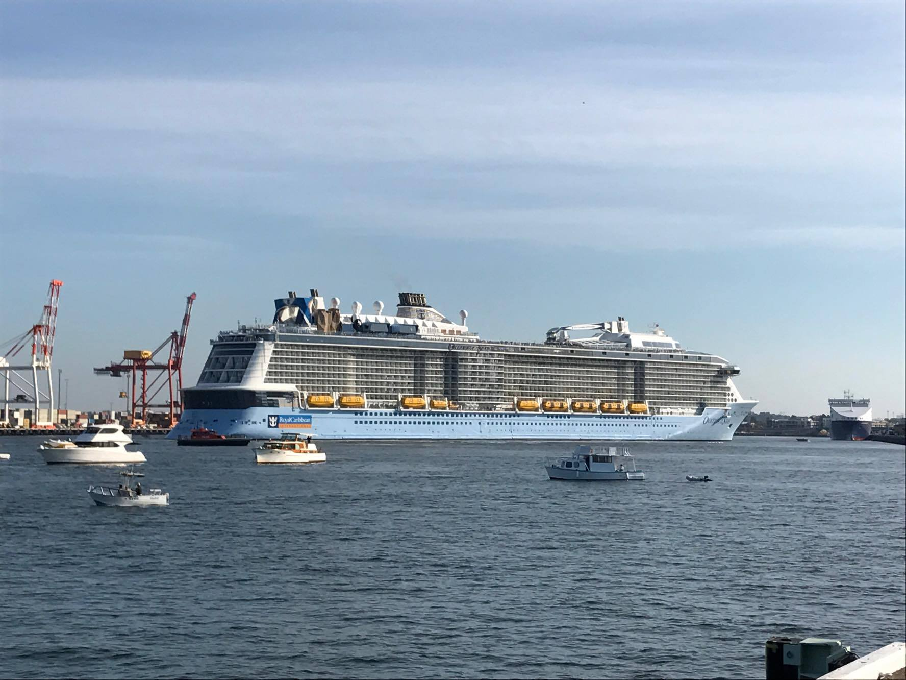 Ovation of the Seas docks in Fremantle