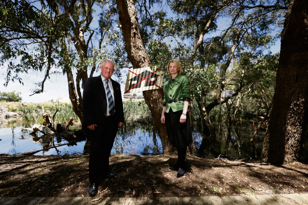 Bayswater Mayor Barry McKenna and acting chief executive Carissa Bywater at the wetlands. Picture: Andrew Ritchie        www.communitypix.com.au   d462926