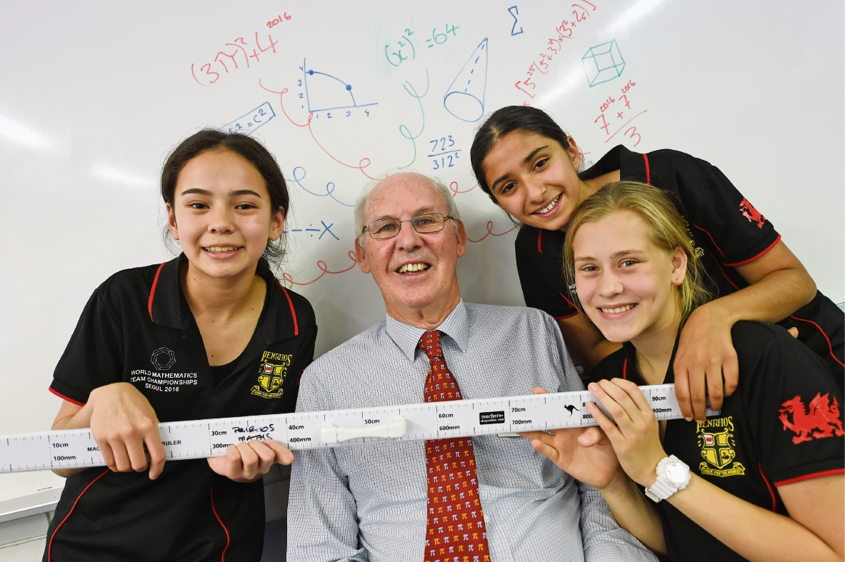 Students  Bianca Masters, Nikki Bakhtazad and Mignon Du Plessis with STEM co-ordinator Peter Chandler. Picture: Jon Hewson          d462855