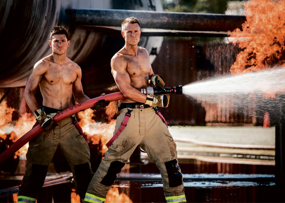 Perth Airport firefighters Phil Birch and Brett Jones feature in the 2017 Firefighters |Calendar.