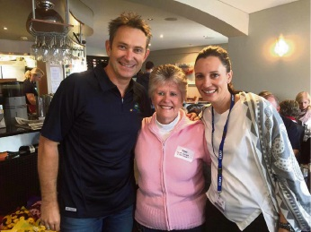 Winning listener Rose Baker with 98five breakfast duo Kirste and Morro.