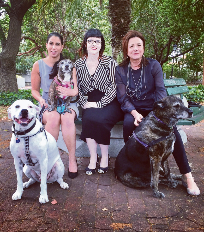 From left Sophia Munn with her dogs Al (front) and India, Bonnie Boogaard, and Janey Sanderson with Parma.