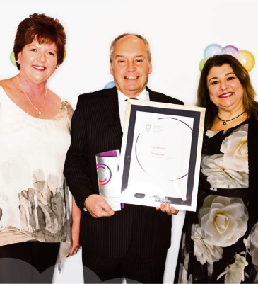 Manager neighbourhood development Leanne Hartill, Melville Mayor Russell Aubrey and co-ordinator customer relations Marcia Coelho receive the Australian Service Excellence Government award.