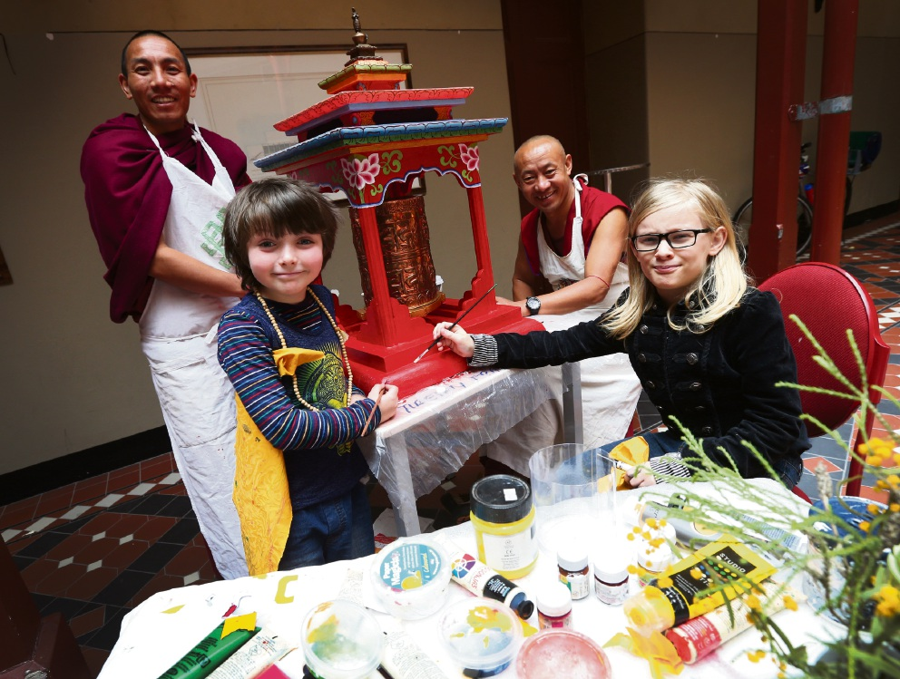 Gyuto Monks of Tibet with Gwydion Mullumby (7) of Hilton and Remiel Campbell (8) of Shenton Park. Picture: Matt Jelonek