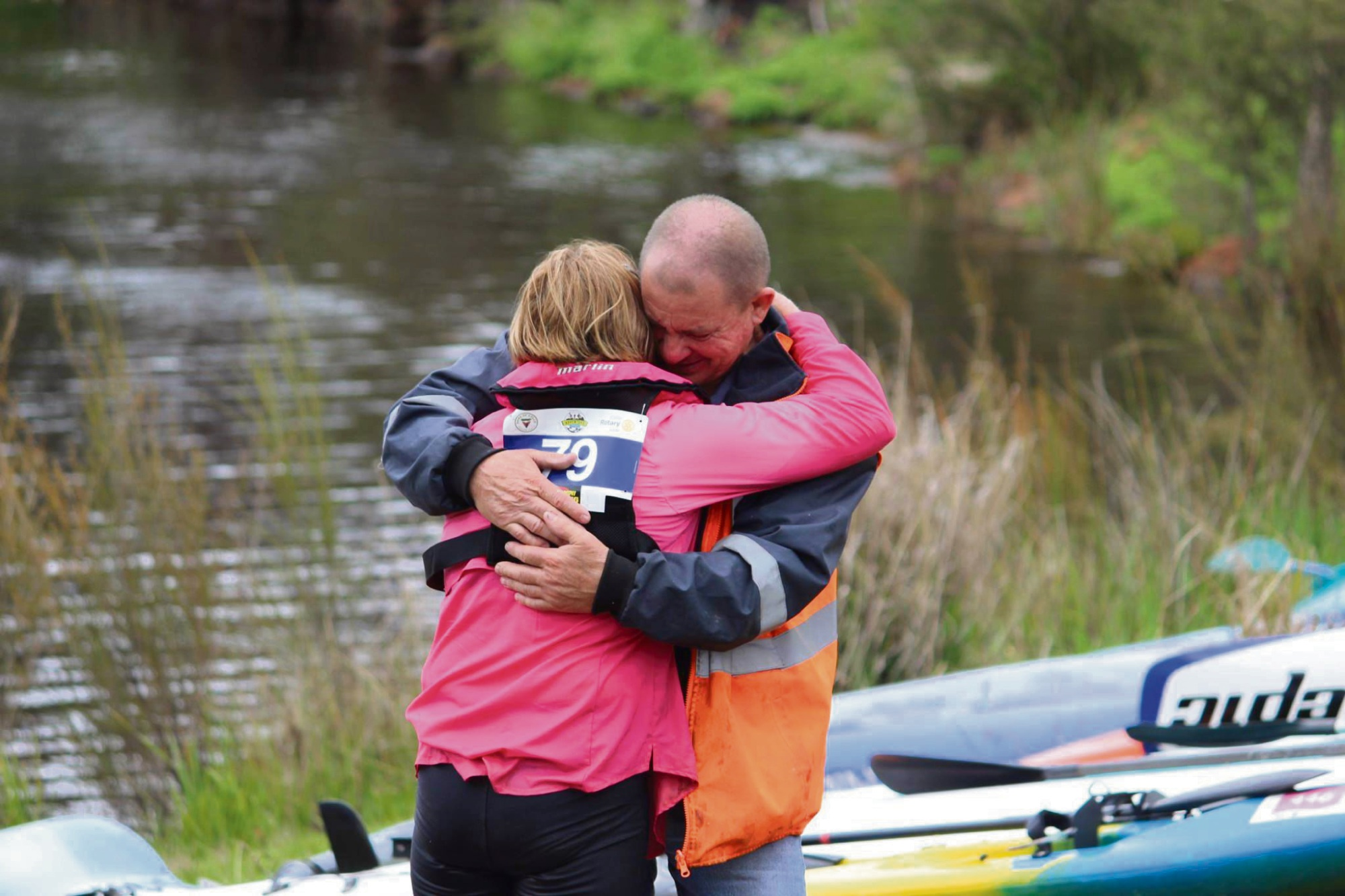 Sue is embraced by her husband Doug at the end of the Collie Adventure Race.