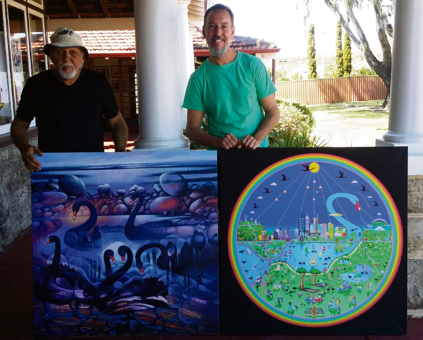 Renowned Indigenous artist Lance Chad and Wadjuk Dreaming Festival co-coordinator David Mitchell display their work.