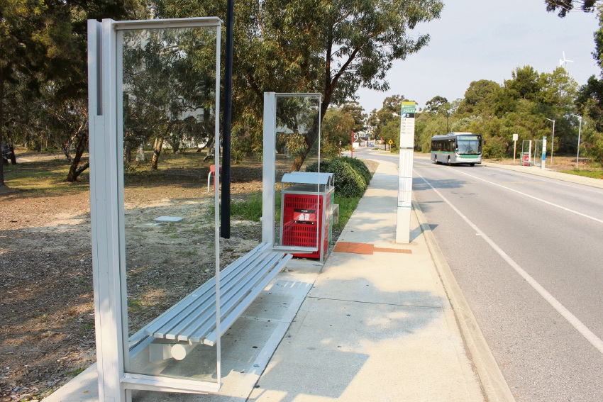 One of six Discovery Way bus shelters that has had its roof removed as a precaution after an act of vandalism earlier this year.
