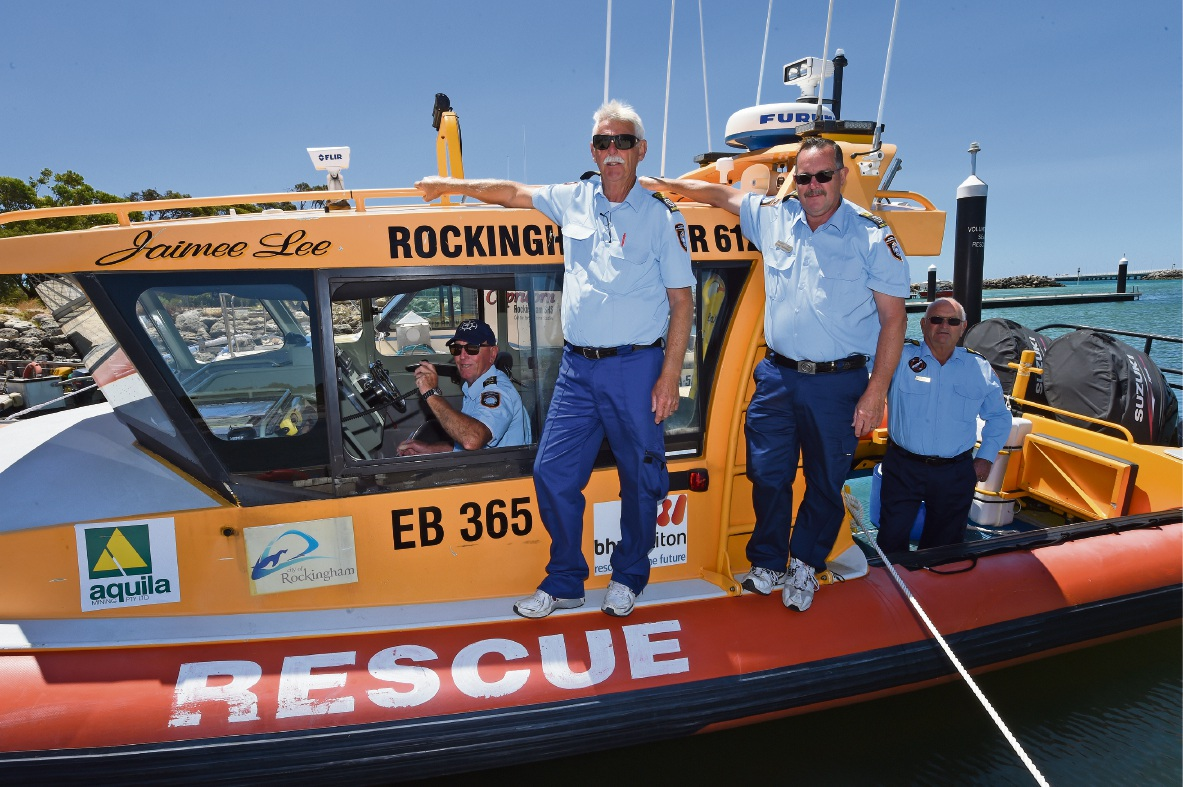 Rockingham Volunteer Sea Rescue Group members Barry Shelton, Bruce Grocock, Doug Warnock and Les Bignell are urging skippers to log on and off when they go to sea.