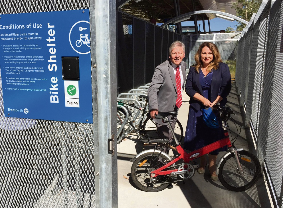Bill Marmion and Perth MLA Elena Evangel check out one of the bike shelters.