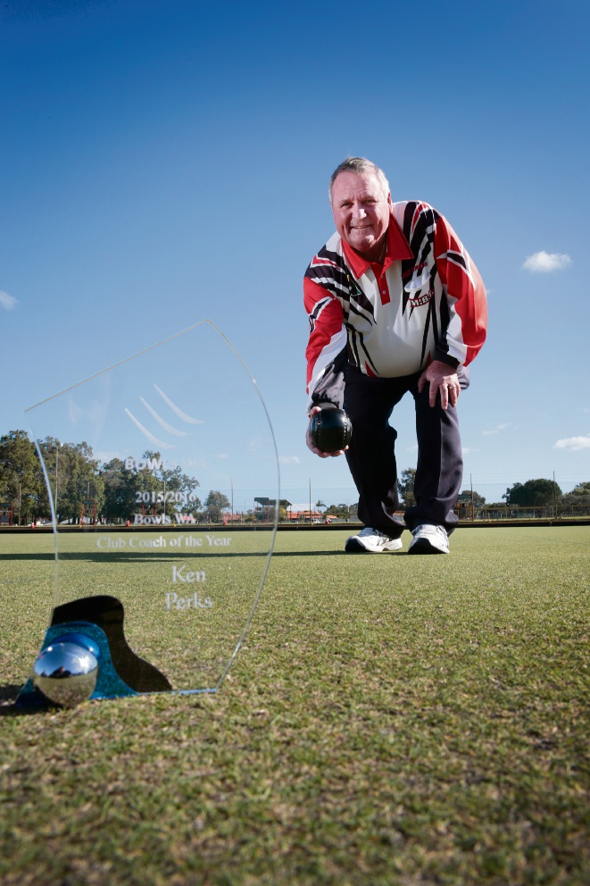 Morley Bowling Club coach Ken Perks, the WA Coach of the Year. Picture: Andrew Ritchie
