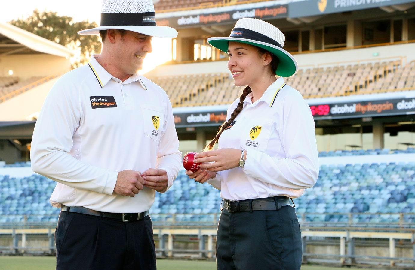 Female cricket umpire Ashlee Kovalevs (right).