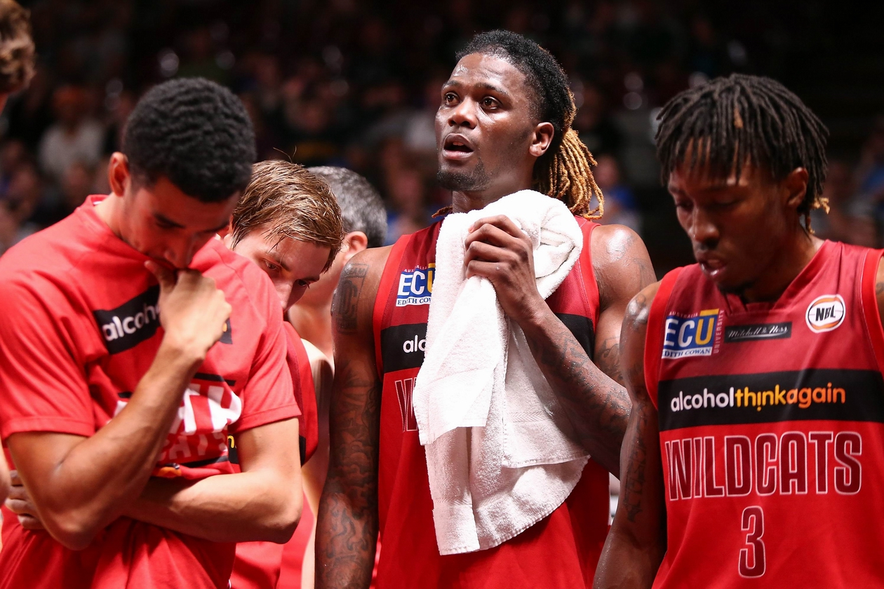 Dexter Kernich-Drew, Jameel McKay and Jaron Johnson during Perth's loss to Adelaide. Picture: Getty Images