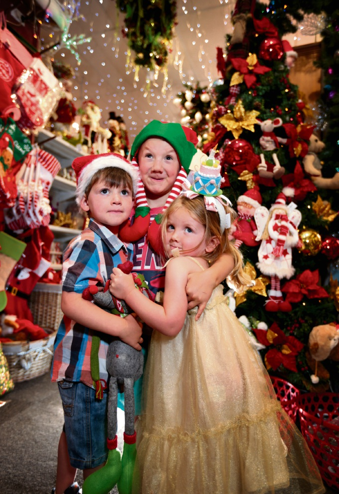 Jackson Byfield (3), Cohen Pearce (5) and Torah Pearce (2), all of Toodyay. Enjoying themselves inside the Christmas 360 shop in Toodyay. Picture: David Baylis