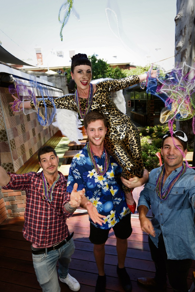 Antonio Espostito, Tim Wallace, Peter Buckley with Leah Tsagaris are ready for the big bash in Leederville.         Picture: Andrew Ritchie    d463289
