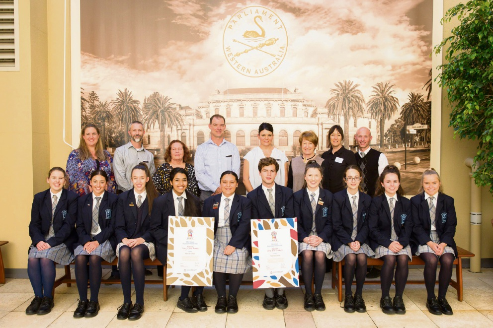 Mater Dei College staff and students with their awards.