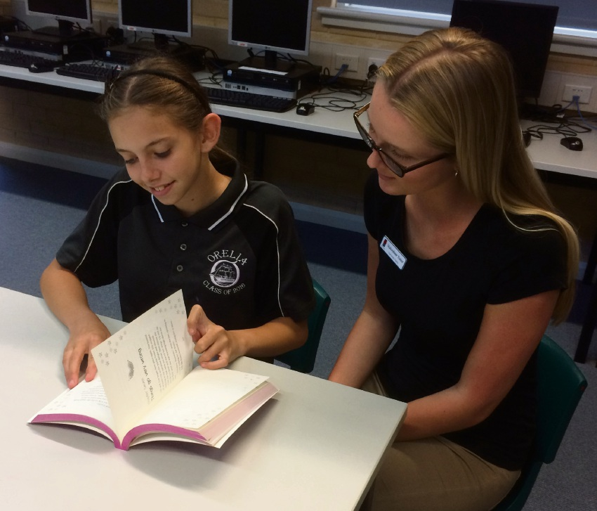 Year 6 student Lily Armarego with tutor Lucy Graham.
