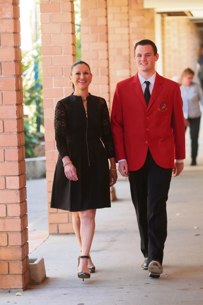 Girrawheen High School principal Rosalba Butterworth and Brandon Rowe. Picture: Bruce Hunt        www.communitypix.com.au   d462620
