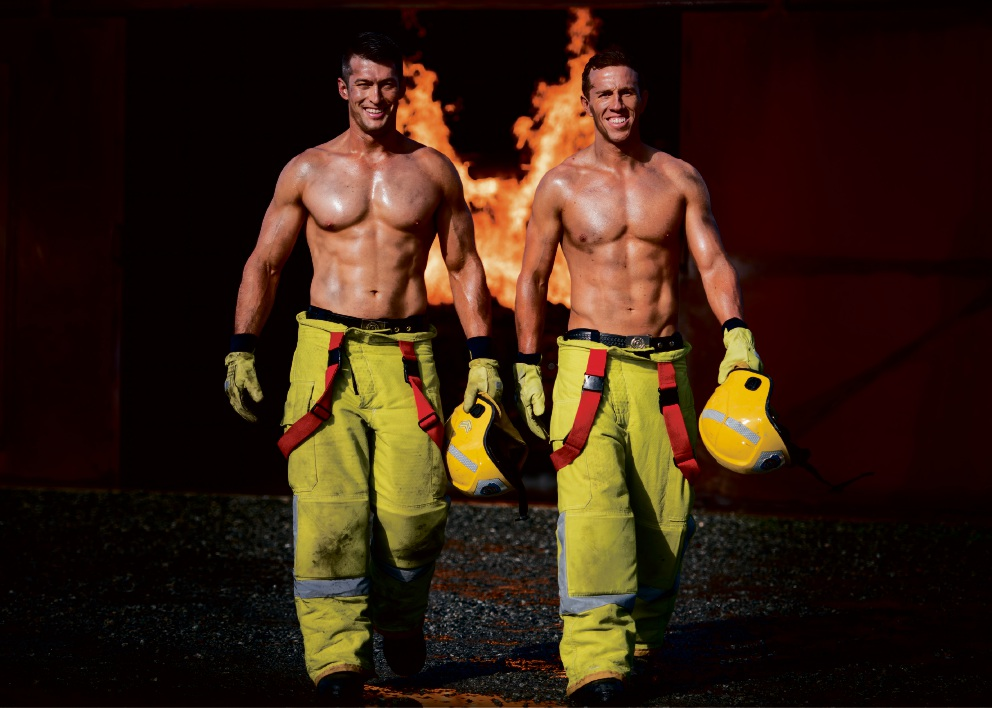 Josh Caddy and Scott Bullock feature in October for the 2017 Perth Firefighters Calendar.