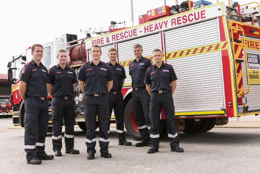 New firefighters Cameron Armstrong, Sean Carson, Martin Kitson, Adam Manera, Daniel Gell and Brendan Atkinson.