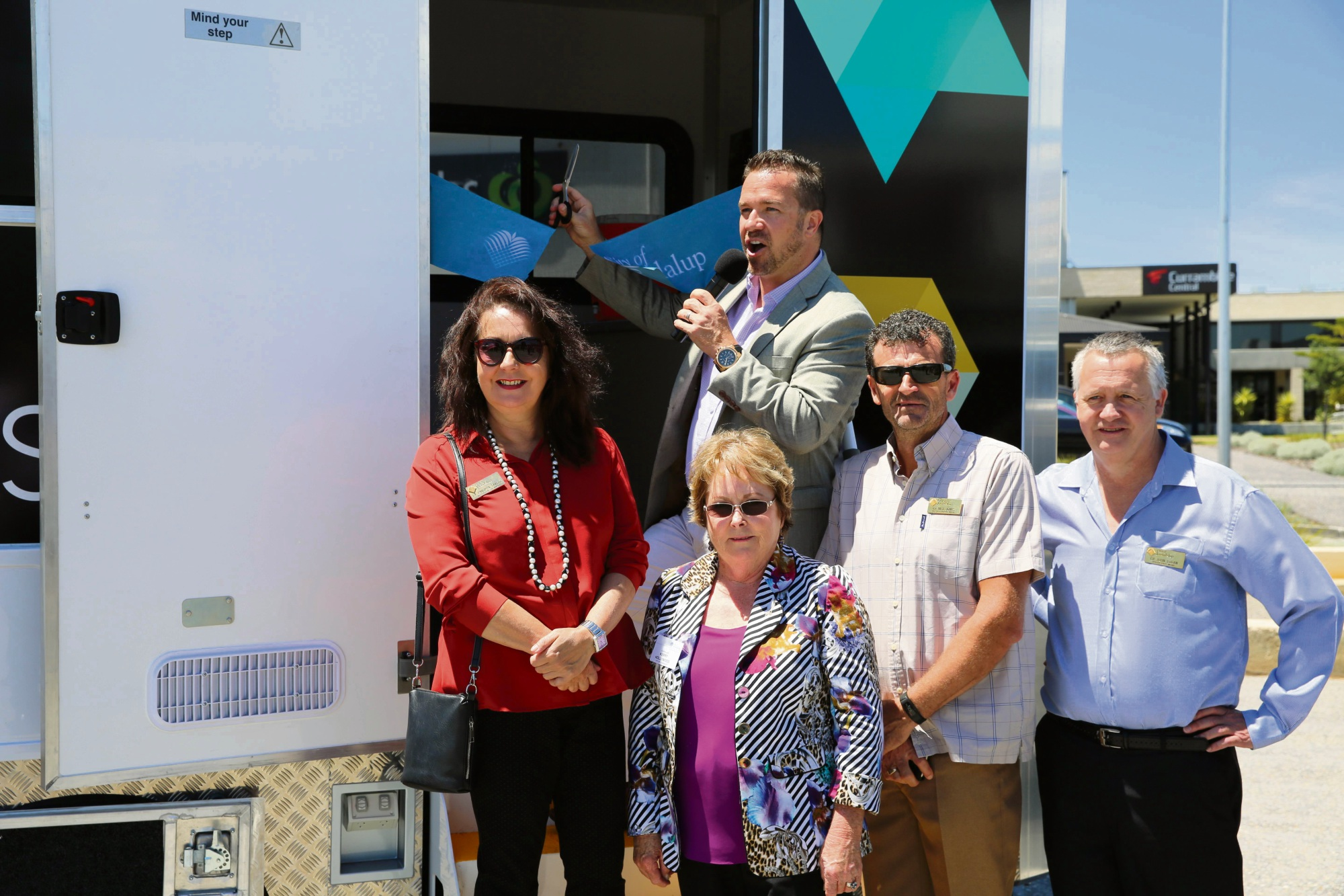 Mayor Troy Pickard and councillors Philippa Taylor, Kerry Hollywood, Nige Jones and John Logan officially launch the new youth truck.