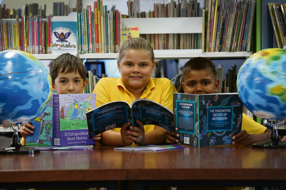 Adam Yassin Adly Aly (Year 2, left), Kahliyah Demspster (Year 3) and Edward Harris (Year 3). Picture: Andrew Ritchie.