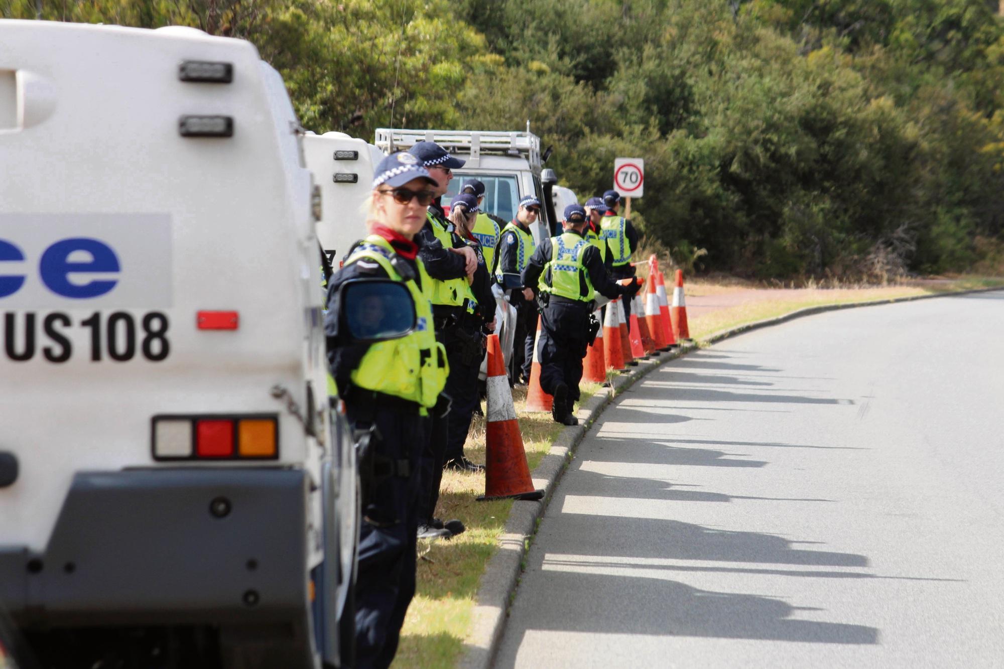Police line North Lake Road. Photo: Bryce Luff