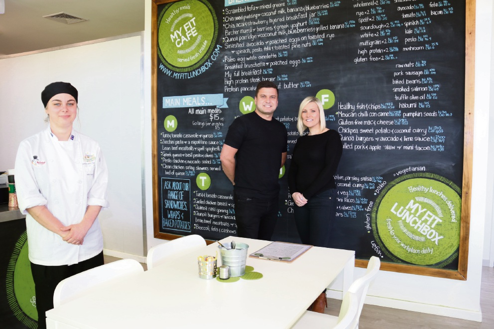 Olympic culinary chef Jade Hugi-Ferguson with My Fit Cafe owners John and Daniella Drennan. Picture: Laura Thomas