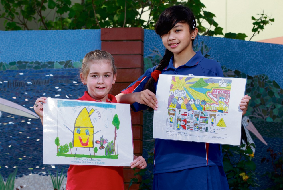 Pictured with their winning posters are Shelley Primary School students Paige  and Michaela. Picture: Marie Nirme