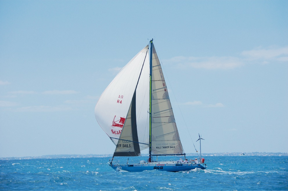 Jon Sanders on Perie Banou II starts his circumnavigation with the Fremantle to Geraldton race.