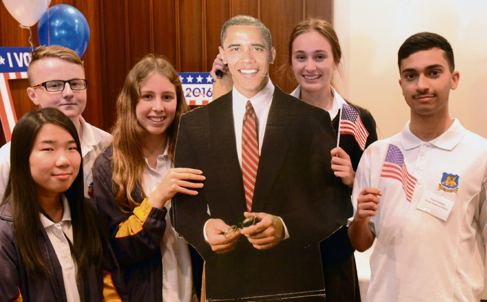 Perth Modern politics students (l-r)  Ivy Kim, Harrison Green, Alice Colvin, Mia Judkins and Parth Kanade showed their preference was outgoing President Barack Obama.