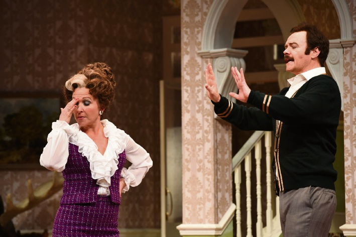 Blazey Best as Sybil and Stephen Hall as Basil Fawlty.