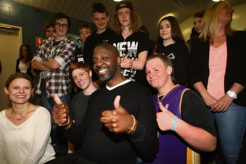 Guest speaker David McQueen with students at Clarkson Community. Picture: Bruce Hunt