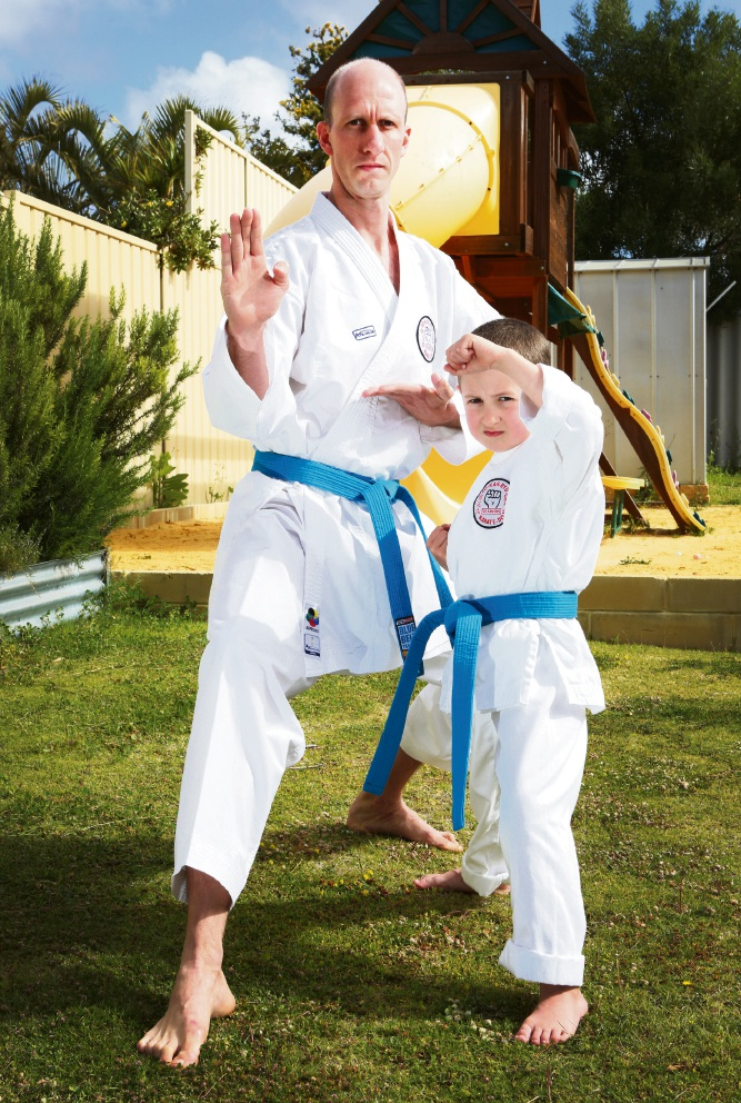 Gavin and Levi Smith are holding a Blue Belt program at the GKR karate School, a fundraiser for BeyondBlue this month. Picture: Matt Jelonek
