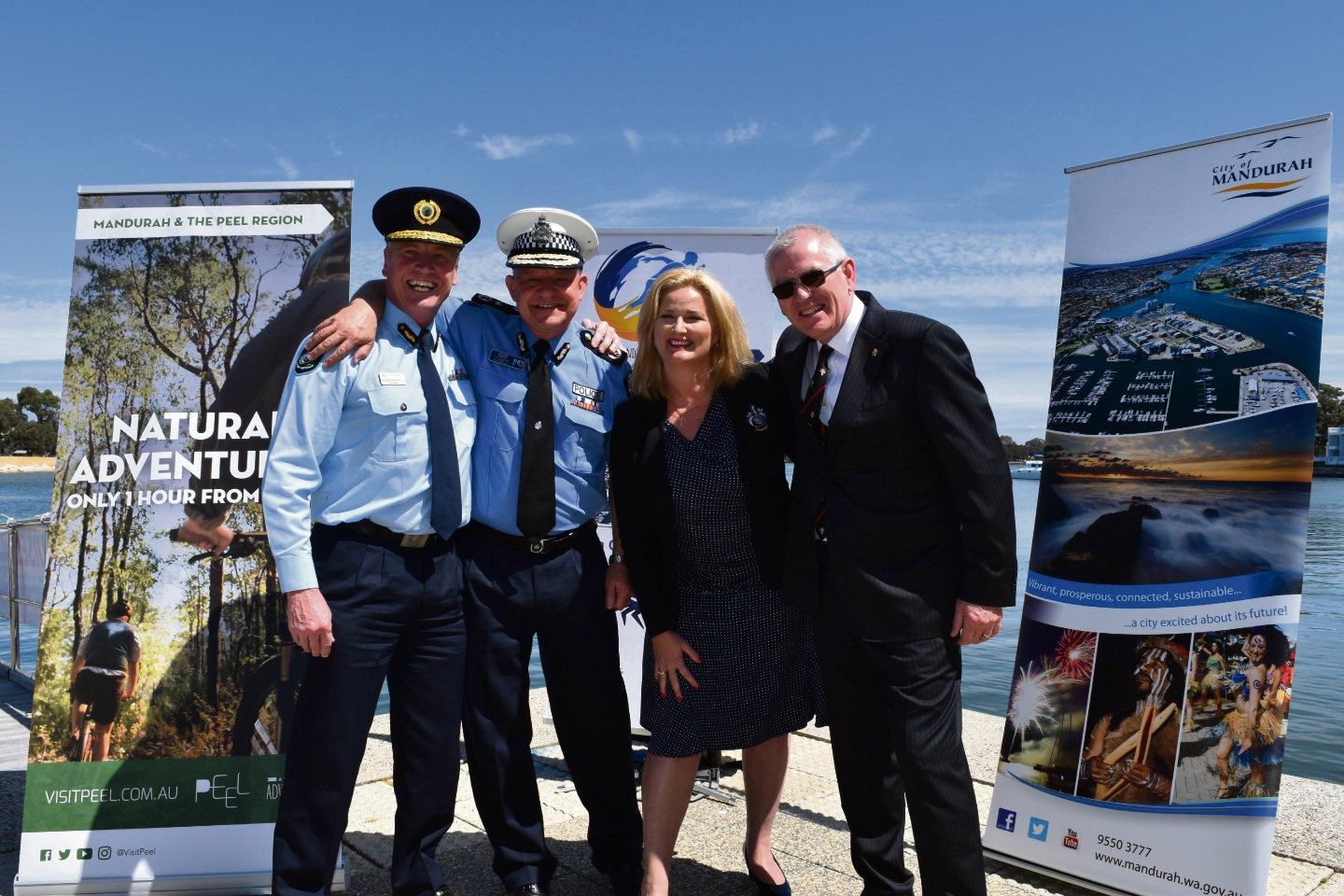 Department of Fire & Emergency Services Commissioner Wayne Gregson, Chairman of the Western Australia Police Sports Federation, WA Police Deputy Commissioner Stephen Brown, Mandurah Mayor Marina Vergone and St John Ambulance Chief Executive Tony Ahern.
