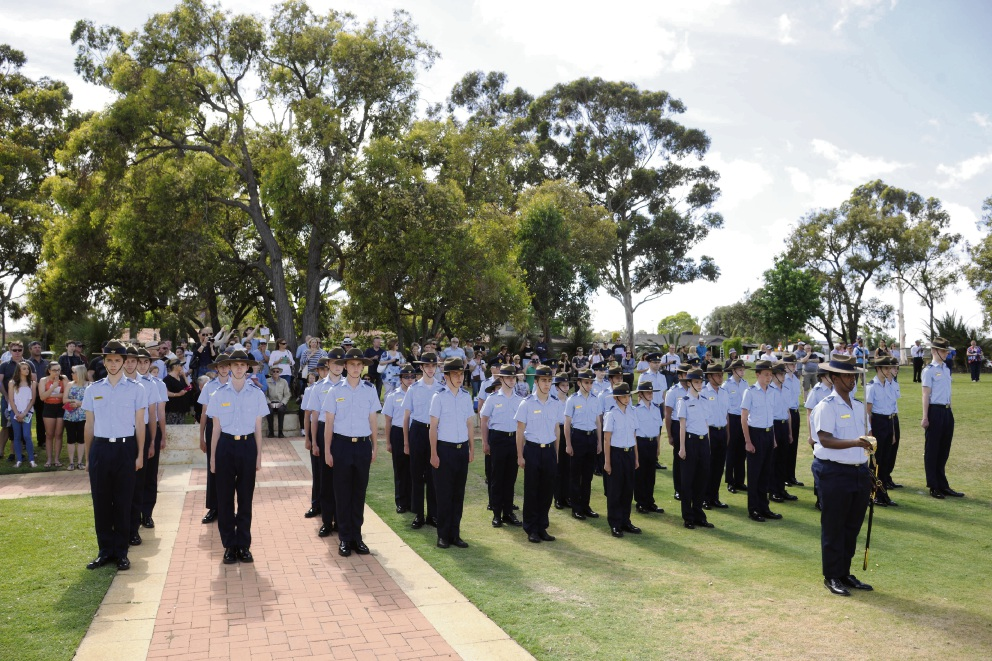 Australian Air Force cadets march in the city.