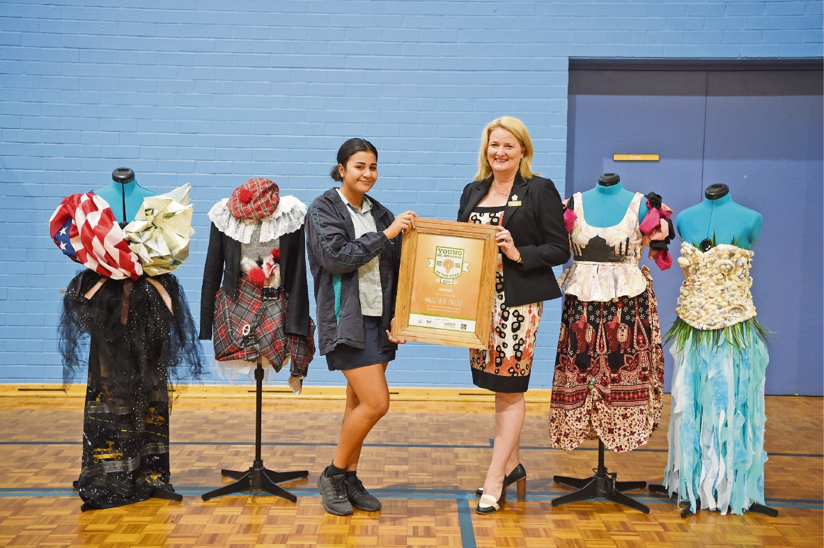 Mandurah Mayor Marina Vergone with Helena Mathews (Year 9). Picture: Jon Hewson.
