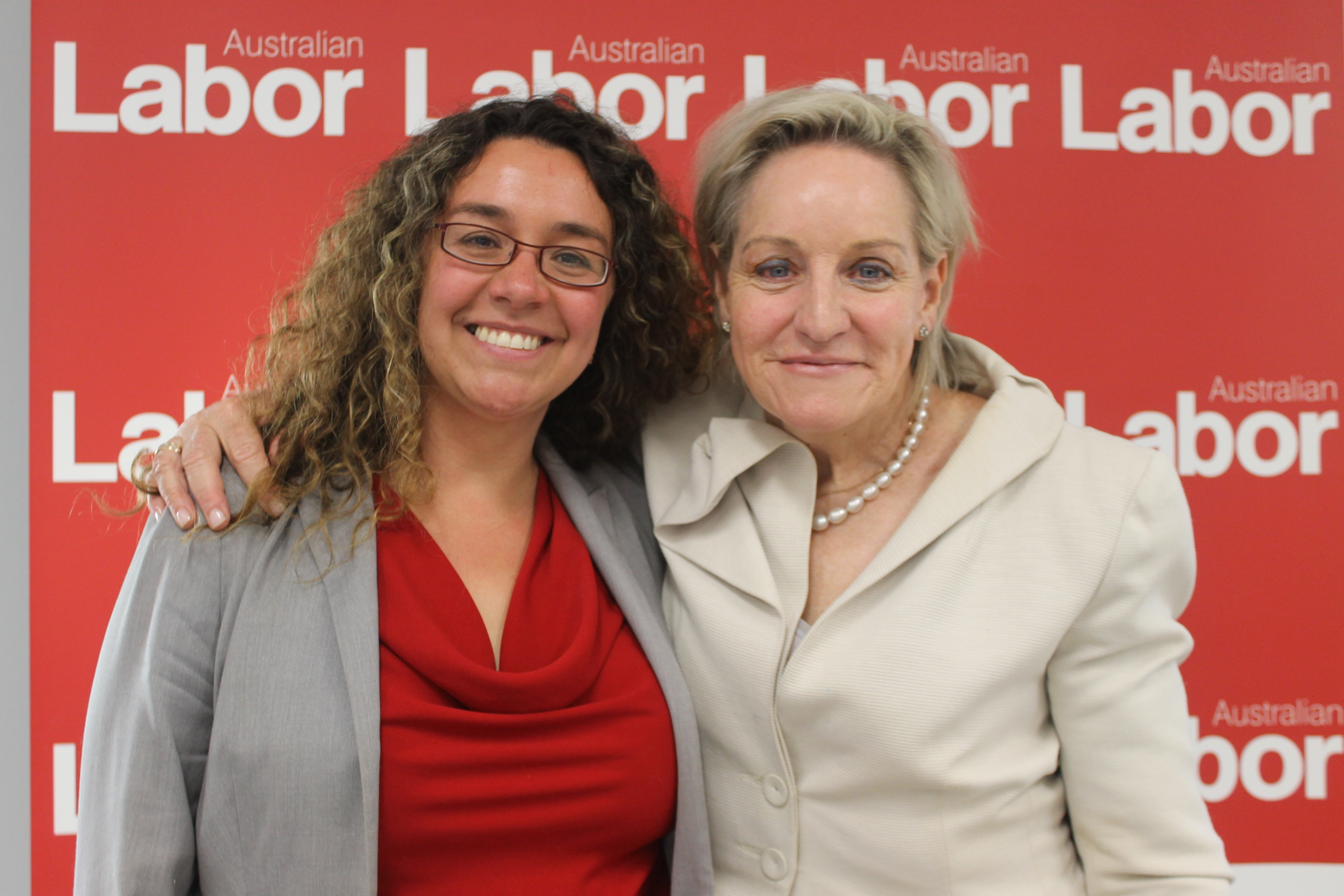 Former Perth MP Alannah MacTiernan (right) launches Swan Hills candidate Jessica Shaw's campaign.