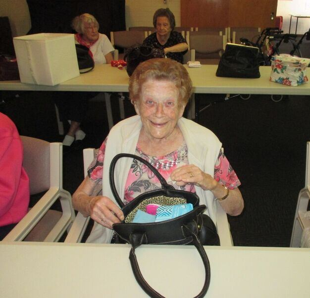 Bethanie Joondanna resident Joannie Greer with one of the bags.
