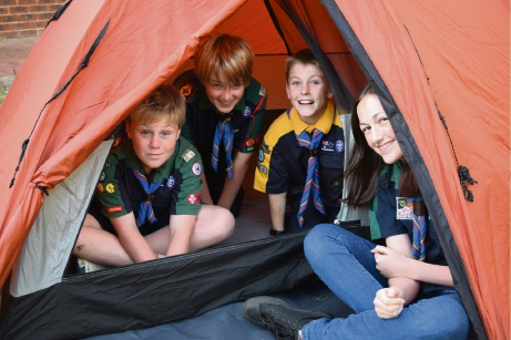 No more leaky tents thanks to donation: Eastern Hills Guide and Scout Group's Kye Crane, Hayden Rogers, Ryan Crane and Darby Tabb.