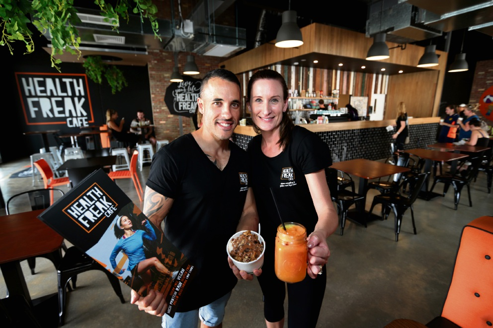 Justin and Melissa Jacobsen, franchisee owners of Health Freak Cafe. Picture: David Baylis        d463619