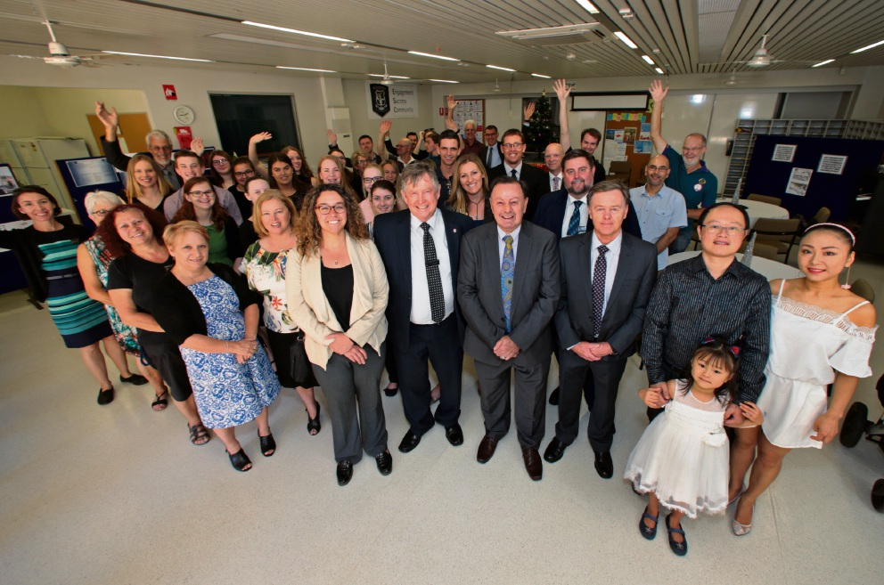 Ellenbrook Secondary College Principal Peter Havel (front row, second left) and special guests at the  10-year celebration. Picture: David Baylis        www.communitypix.com.au   d463162