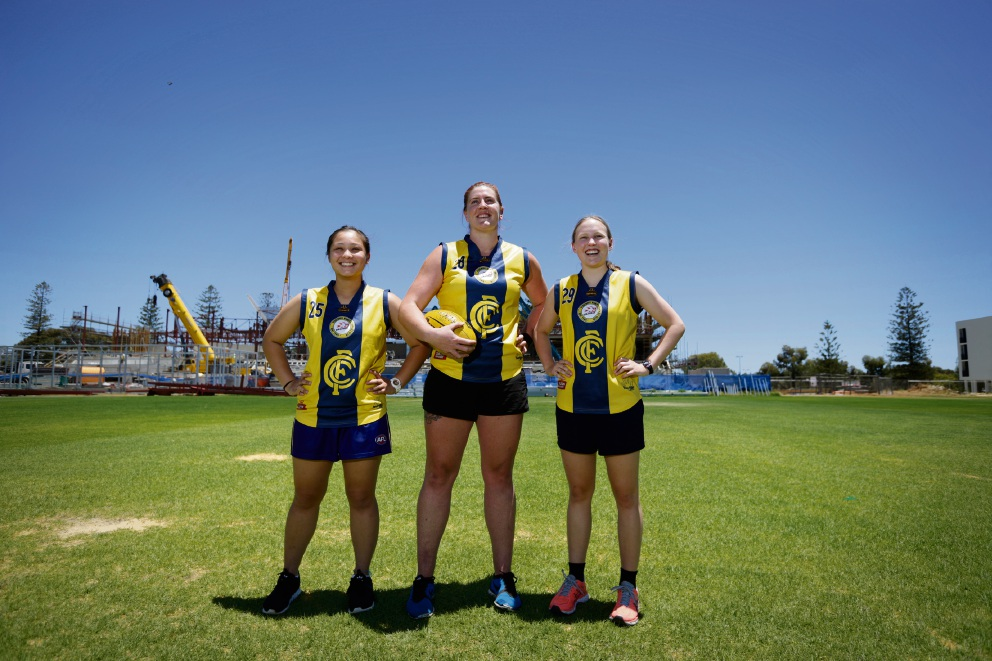 Monique Esteban (17), Lou Carey (29) and Eloise Wiffen (17). The Claremont Women's Football Club will adopt the tiger emblem in 2017. Picture: Andrew Ritchie.