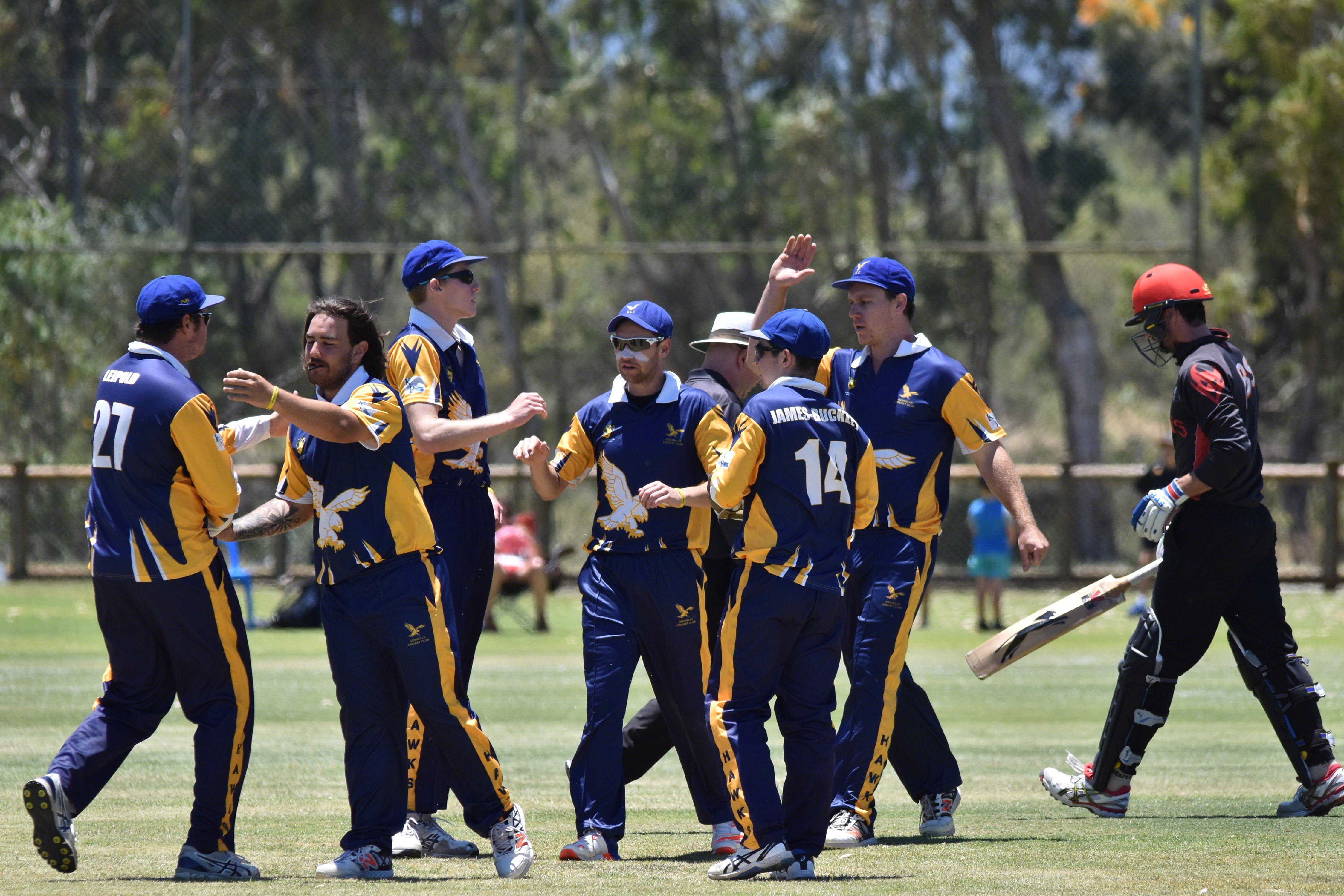 University celebrate a wicket against Gosnells in the T20 semi final.