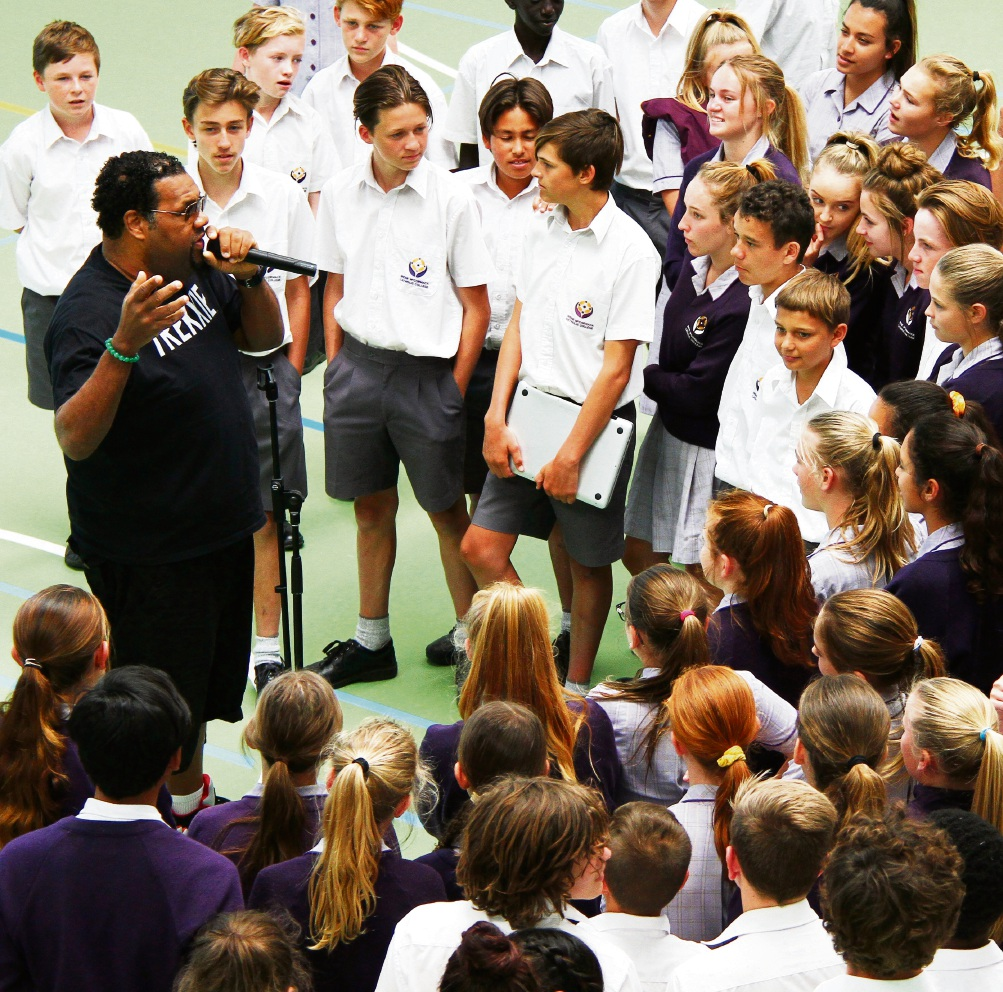 Fatman Scoop with Irene McCormack Catholic College students.