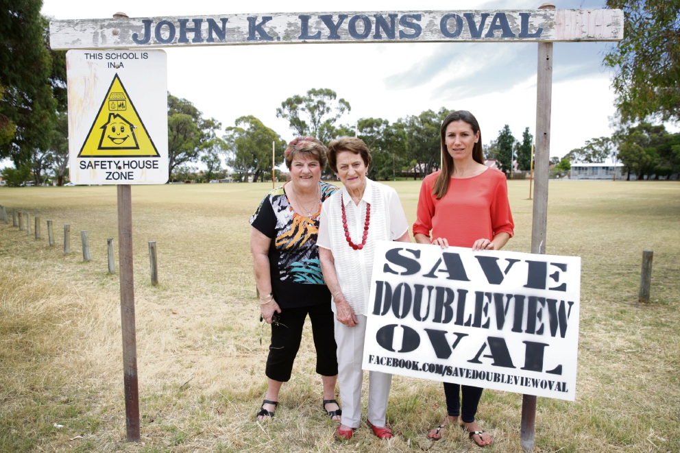 Mary Harvey, Mary Lyons and Claire Sharman are among many residents who are trying to save JK Lyons Reserve. Picture: Andrew Ritchie