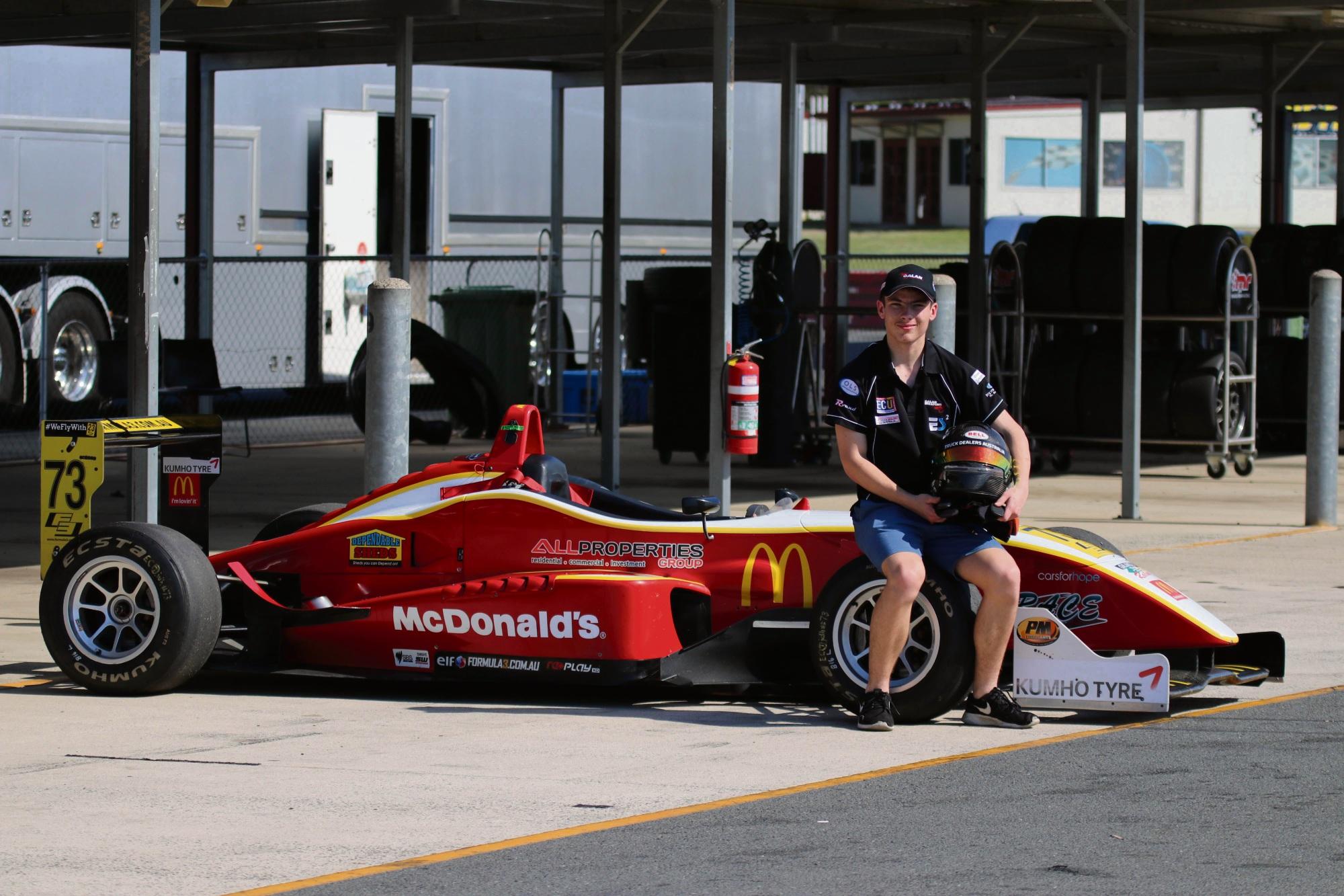 Calan Williams at the Formula 3 testing.