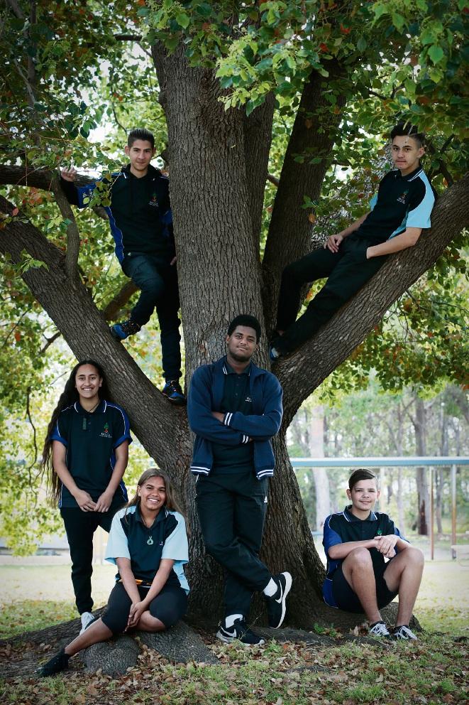Mahina Oneroa, Arad Khalili (in tree), Te'Kia Krakouer, James Dirrssa, Tui Weston (in tree) and Schace Riley. Picture: Andrew Ritchie
