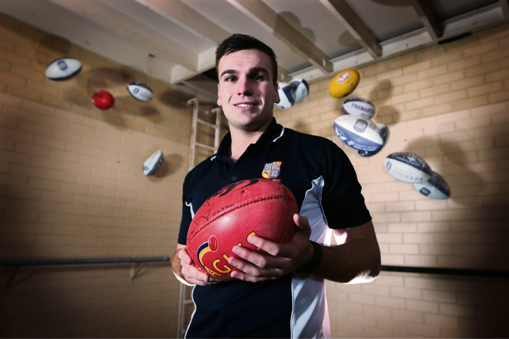 Jake Davis (PE Teacher at Eastern Hills Senior High School and Head of the AFL Program) was recently named Most Outstanding First Year AFL School Ambassador. Picture: David Baylis